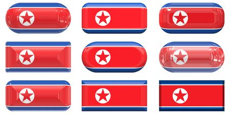 nine glass buttons of the  Flag of North Korea Stock Photo - 6418419