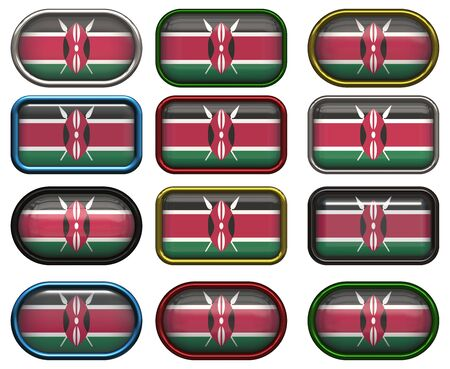twelve Great buttons of the Flag of Kenya photo