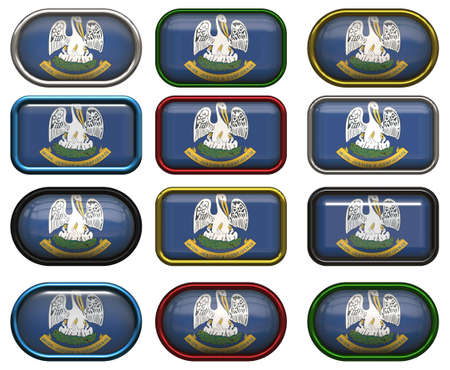 twelve Great buttons of the Flag of Louisiana photo
