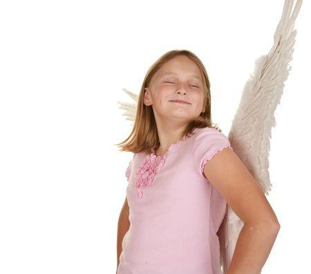 smug: smug young fairy angel girl isolated on white