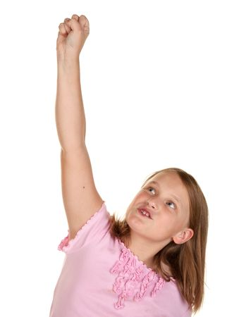 arms in air: young girl isolated on white