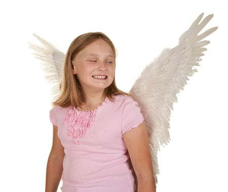 mischevious: sneaky young angel or fairy girl with wings
