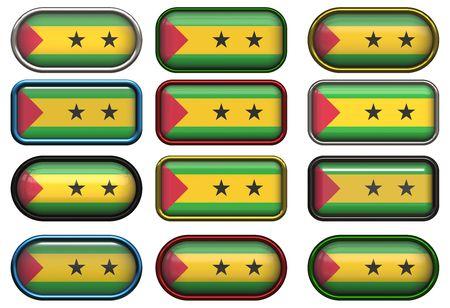 principe: Doce botones de la bandera de Santo Tom� y Pr�ncipe