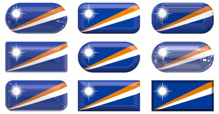 marshall: nine glass buttons of the  Flag of Marshall Islands Stock Photo