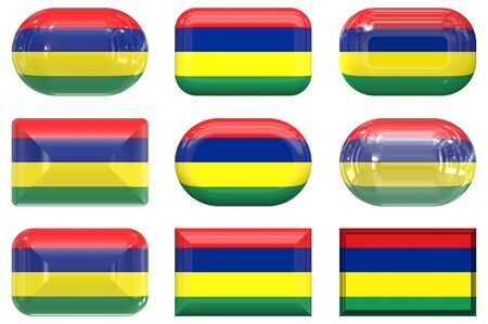 mauritius: nine glass buttons of the Flag of Mauritius