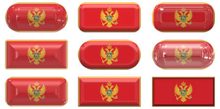 nine glass buttons of the Flag of Montenegro photo