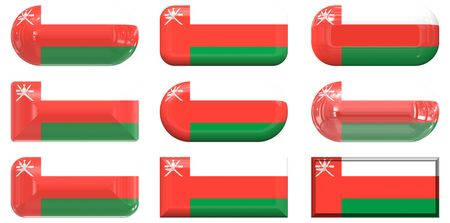 oman background: nine glass buttons of the Flag of Oman Stock Photo
