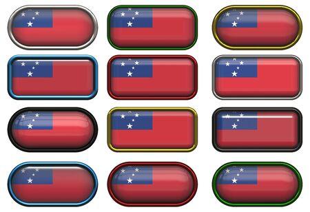 samoa: twelve buttons of the Flag of Samoa