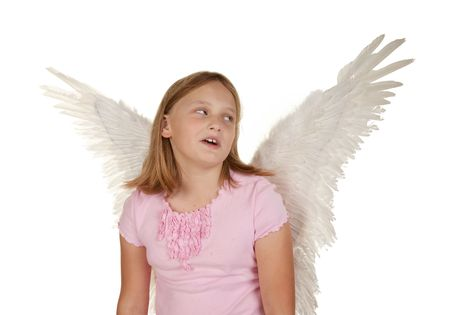 dissapointed: oh no ive got wings young girl isolated on white