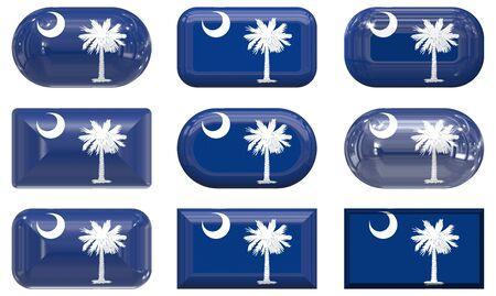 nine glass buttons of the  Flag of South Carolina photo