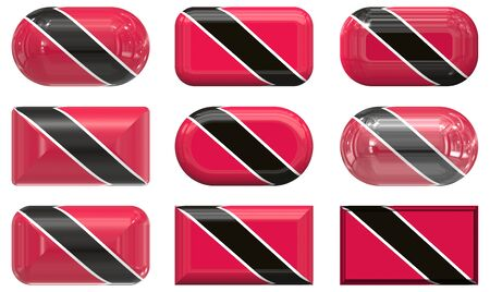 nine glass buttons of the  Flag of Trinidad and Tobago Stock Photo - 6518745