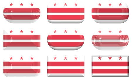 dc: nine glass buttons of the  Flag of Washington DC
