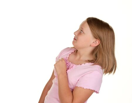 yuck: young girl looking unsure about copy space  isolated on white