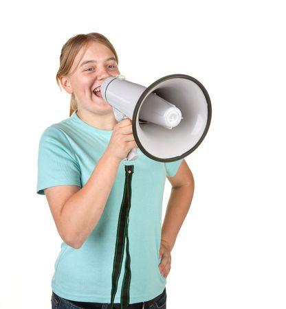 teenage girl with megaphone isolated on white Stock Photo - 6548672