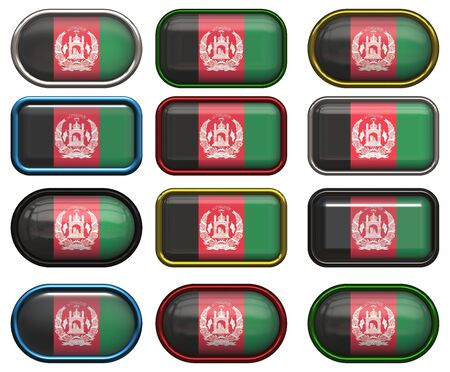 twelve buttons of the  Flag of afghanistan photo