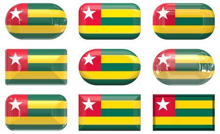 nine glass buttons of the  Flag of Togo photo