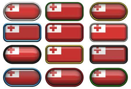 tonga: twelve buttons of the Flag of Tonga
