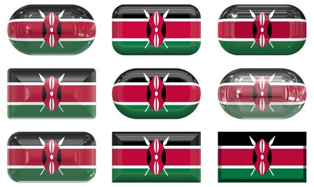 nine glass buttons of the Flag of Kenya photo