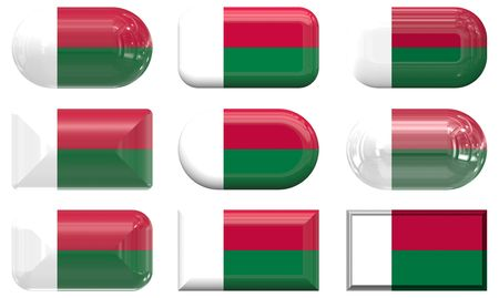 nine glass buttons of the  Flag of Madagascar photo