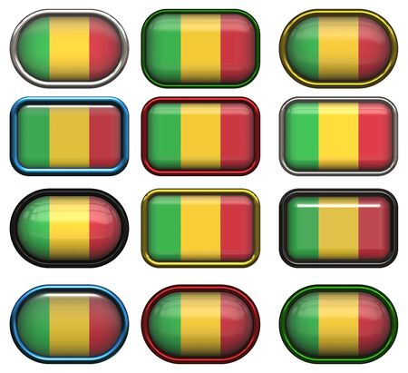 mali: twelve buttons of the Flag of Mali