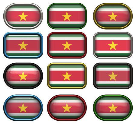 suriname: twelve buttons of the Flag of Suriname