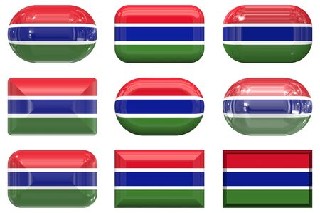 gambia: nine glass buttons of the  Flag of Gambia Stock Photo