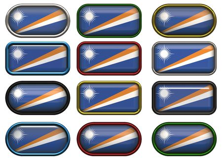 marshall: twelve buttons of the Flag of Marshall Islands