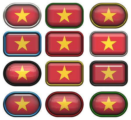 twelve buttons of the Flag of Vietnam photo