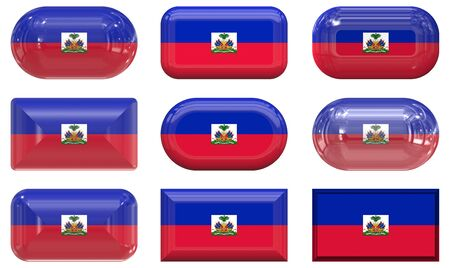 nine glass buttons of the Flag of Haiti photo