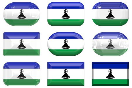 lesotho: nine glass buttons of the Flag of Lesotho Stock Photo