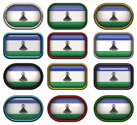 lesotho: twelve buttons of the Flag of Lesotho