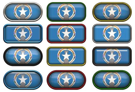 mariana: twelve buttons of the Flag of Northern Mariana Islands Stock Photo
