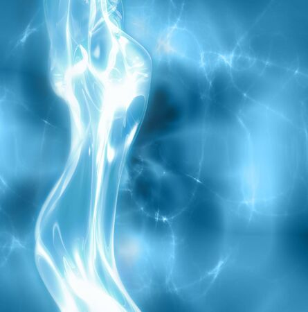 futuristic girl: excellent abstract art image depicting  glowing female body under water Illustration