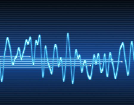 oscilloscope: immagine di grandi dimensioni di un suono elettronico sinusoidali o onda audio  Vettoriali