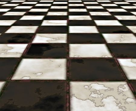tile flooring: old rough and worn marble checkerboard floor