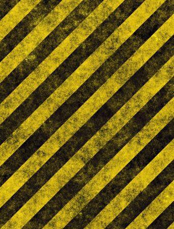 dangerous construction: old grungy yellow hazard stripes on black road Illustration