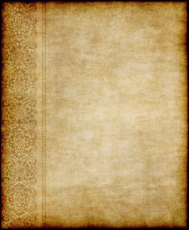 great image of old parchment paper with floral design Stock Photo - 6683347