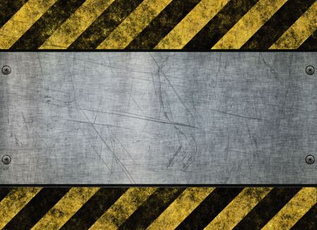 hazard stripes: great grungy hazard sign with metal plate background image