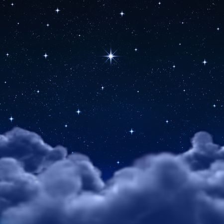 looking out to a wishing star in space or night sky through the clouds Stock Photo