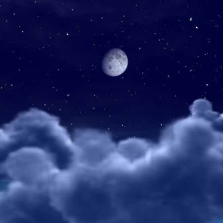 lookingat the moon in space or night sky through the clouds Stock Photo - 6779306