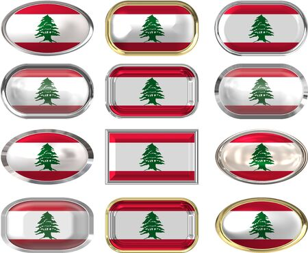 twelve Great buttons of the Flag of Lebanon Vector