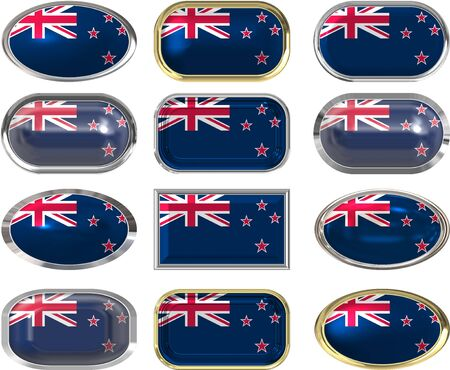 twelve Great buttons of the Flag of New Zealand Vector