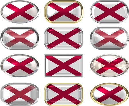 twelve buttons of the Flag of alabama Stock Vector - 6874580