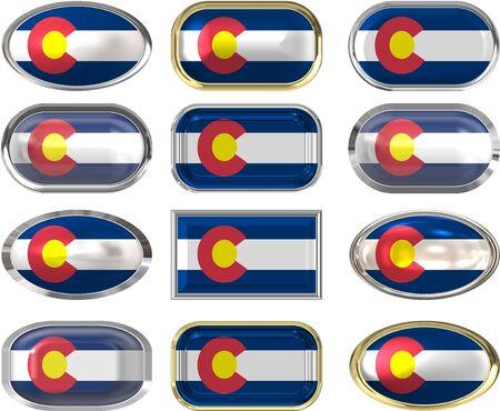 flag of colorado: twelve buttons of the Flag of Colorado
