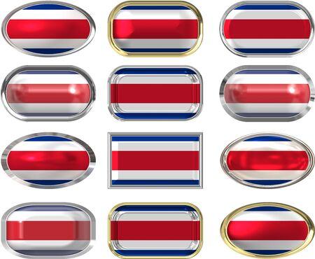 rican: Doce botones de la bandera de Costa Rica