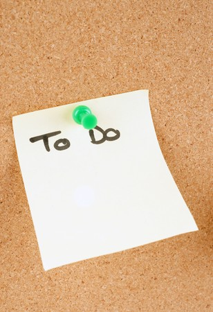 noteboard: great image of a todo  note pinned to a corkboard