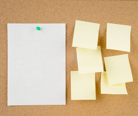 noteboard: great image of notes pinned to a corkboard Stock Photo