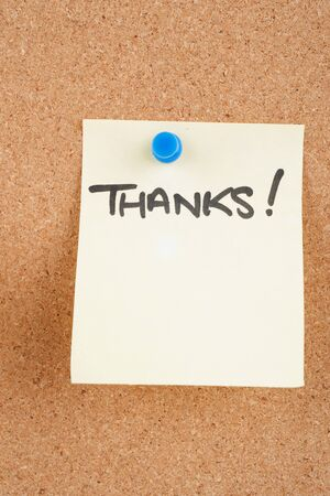 noteboard: great image of a thankyou note pinned to a corkboard