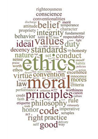 etiqueta de palabra o nube de palabras de moral y valores de la ética