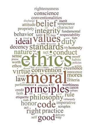 ethics: word or tag cloud of ethics morals and values words